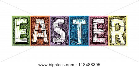 Colorful Woodcut Blocks Spelling Easter