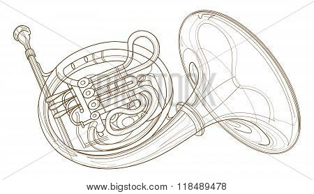 Horn Gold Brass Instruments Art Line