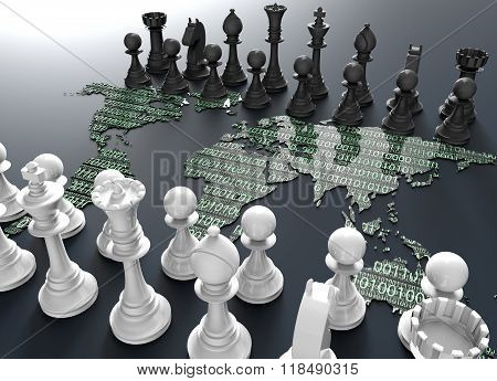 Digital World Map Chess Board With Chess Play