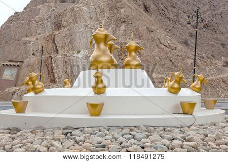 Arabian Coffee Pots In A Roundabout, Oman