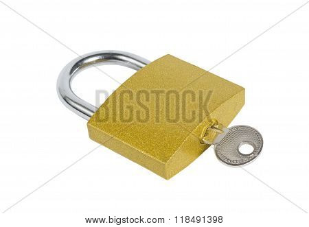 Locked Golden Padlock With Key