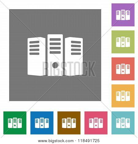 Server Hosting Square Flat Icons