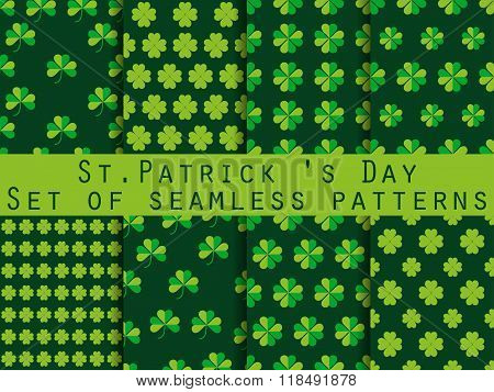 Clover. Set Of Seamless Pattern With Clover. St.patrick's Day. Green Color. The Pattern For Wallpape
