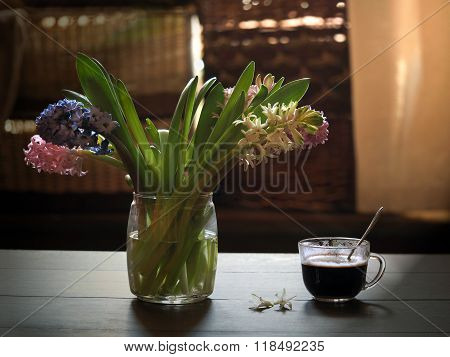 Spring bouquet and cup of coffee