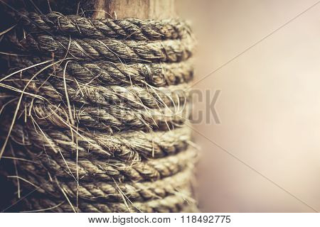 Strip Of Raw Rope Textured On Old Wood For Background. Vintage Style.