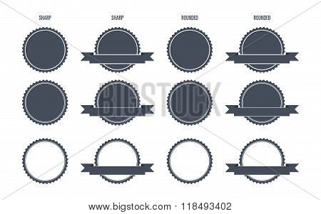 Blank Round Stamp Logo (Sharp and Rounded edges) -  Illustration