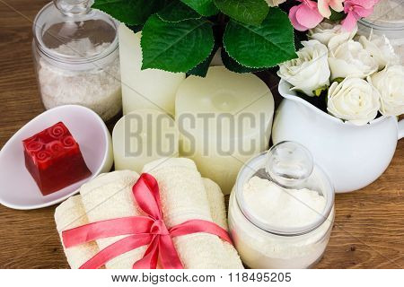 Bath accessories. Personal hygiene items. Bathroom setting. Composition of cosmetic bottles soap tow