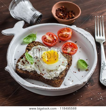 Healthy Food - Open Sandwich With Rye Bread, Soft Cheese And Boiled Egg. On A Light Rustic Wood Surf