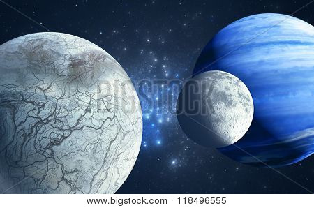 An Earthlike Moon And Icy Moon Orbiting A Gas Giant Host Planet