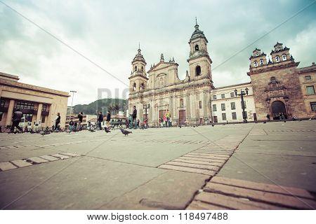 BOGOTA, COLOMBIA - NOVEMBER 15, 2015: main square with church, Bolivar square in Bogota, Colombia, Latin America