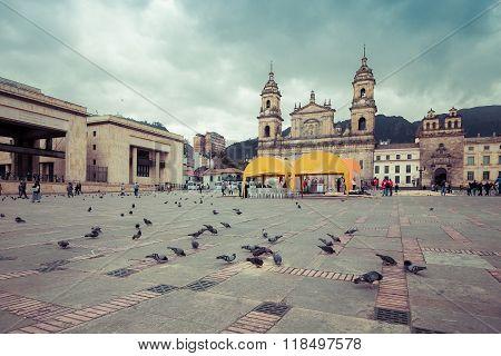 BOGOTA, COLOMBIA - NOVEMBER, 15, 2015: main square with church, Bolivar square in Bogota, Colombia, Latin America
