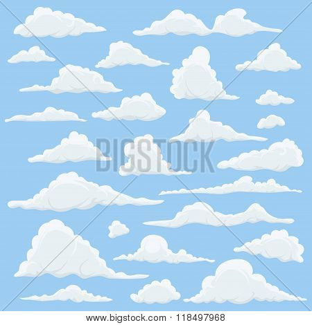 Cartoon Clouds Set On Blue Sky Background. Set of funny cartoon clouds, smoke patterns and fog icons