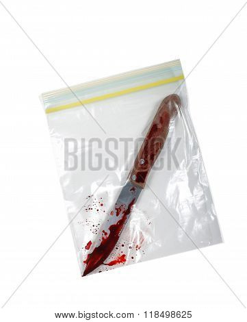 Bloody Knife In Plastic Bag