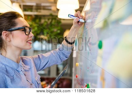 Smiling businesswoman writing something on whiteboard in office
