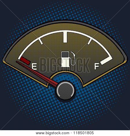 Fuel gauge pop art style vector