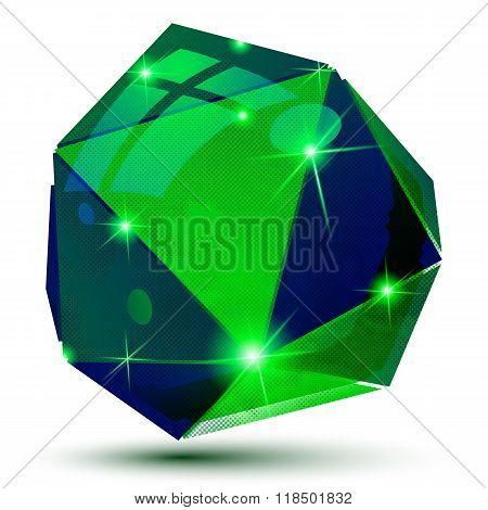 Vector Futuristic Object With Sparkling Effect, 3D Textured Deformed Figure Isolated On White