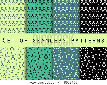 Diamond Jewelry. Set Of Seamless Patterns With Diamonds And Rings. The Faceted Diamond. The Pattern