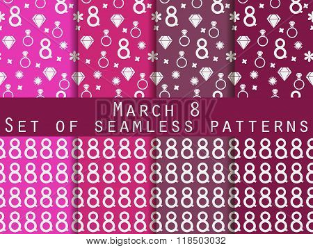 Set Of Seamless Patterns On March 8. International Women's Day. Patterns With Hearts, Rings, Flowers