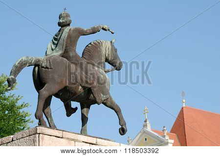 Equestrian Statue Of St. Stephen In Gyor