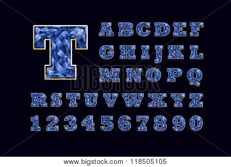 Stylized  Vector Sparkling Jeweled Blue Topaz Precious Stone  Fancy Latin Abc Alphabet Typography. U