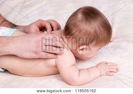 Cute baby massage back