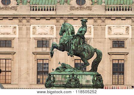 Hofburg, Horse Statue Of Eugen Savoyen, Vienna, Austria.