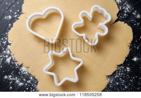 Various Shaped Cookie Cutter On Dough, Preparing Cookies