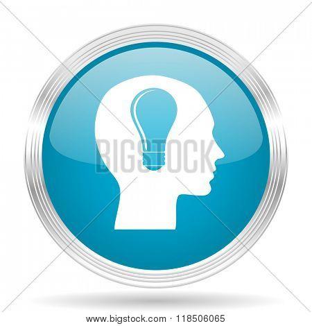 head blue glossy metallic circle modern web icon on white background