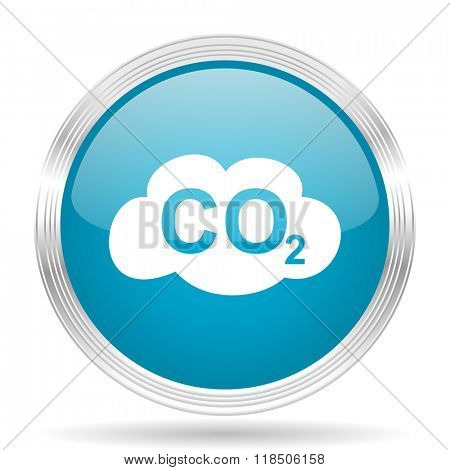 carbon dioxide blue glossy metallic circle modern web icon on white background