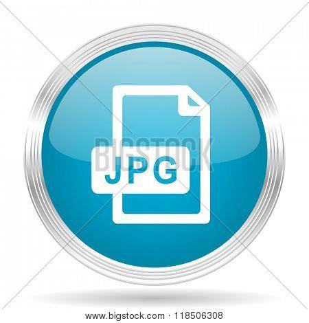 jpg file blue glossy metallic circle modern web icon on white background