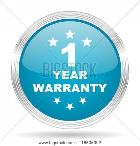 warranty guarantee 1 year blue glossy metallic circle modern web icon on white background