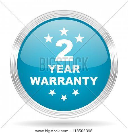 warranty guarantee 2 year blue glossy metallic circle modern web icon on white background