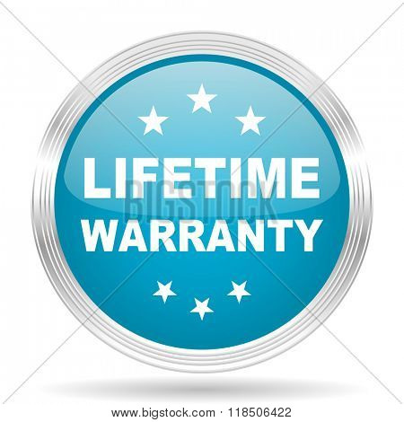 lifetime warranty blue glossy metallic circle modern web icon on white background