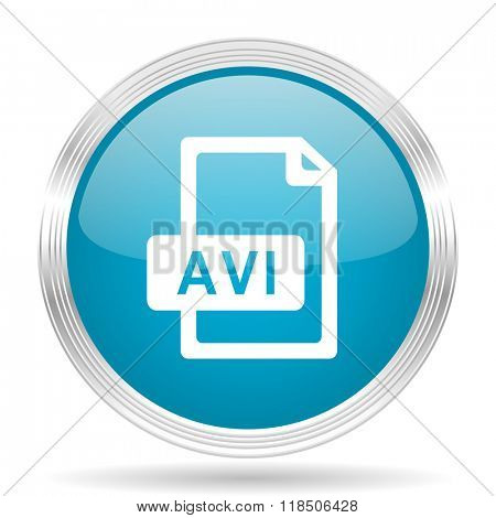 avi file blue glossy metallic circle modern web icon on white background
