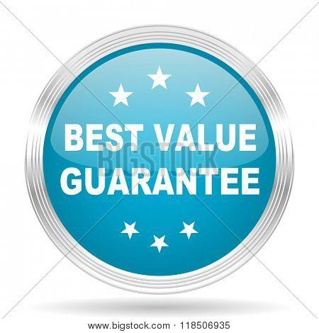 best value guarantee blue glossy metallic circle modern web icon on white background