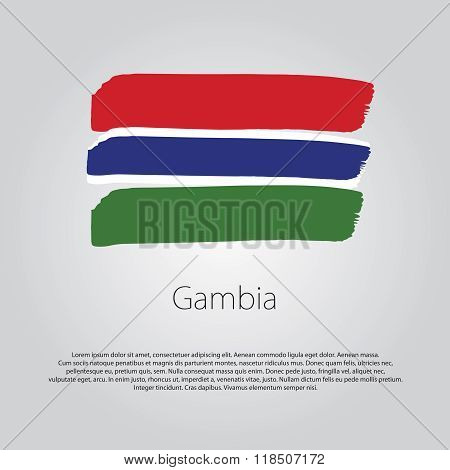 Gambia Flag With Colored Hand Drawn Lines In Vector Format