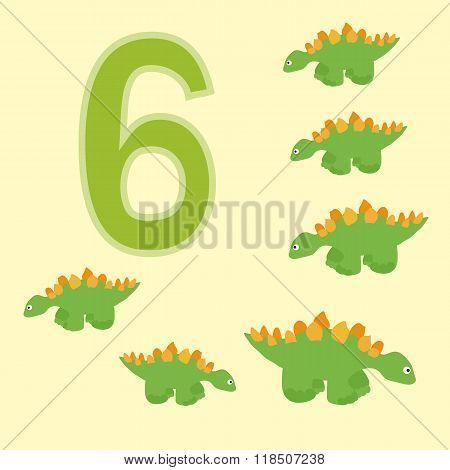 Number 6. Six Dinosaur (stegosaurus) .