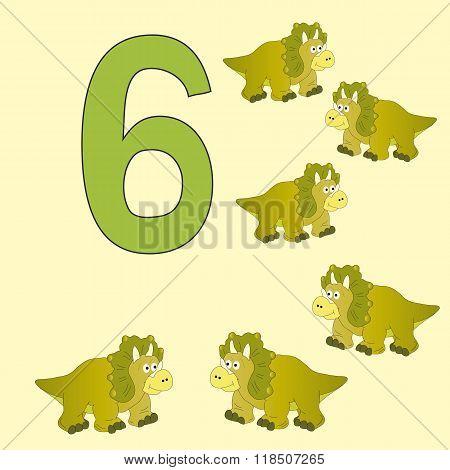 Number 6. Six Dinosaur (triceratops) .