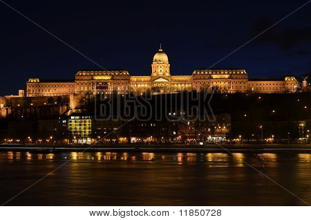 Budapest, Buda Castle On Danube River By Night