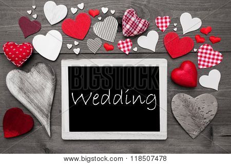 Black And White Chalkbord, Red Hearts, Wedding