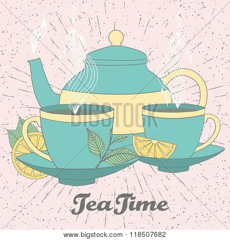 Tea Time Vector Illustration Of Hand Drawn Doodle Elements. Breakfast Set With Tea Pot, Tea Leaves,