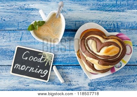 Breakfast With Coffee And Bun Heart. Wish Good Morning