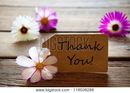 Label With Text Thank You, Cosmea Blossoms