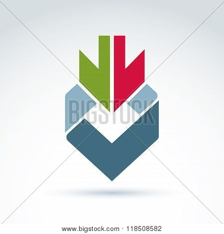 Vector Abstract Design Element, Colorful Geometric Symbol With Double Down Arrow And A Checkmark.
