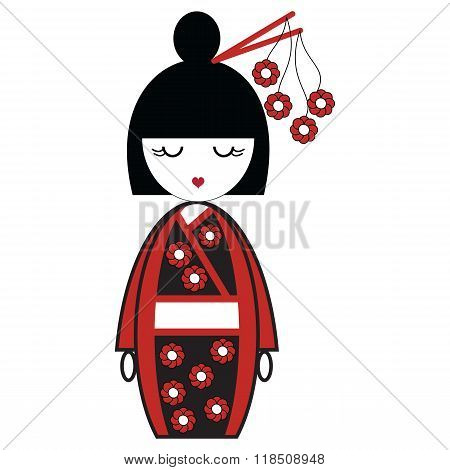 Japanese Geisha doll with black and red kimono with flowers inspired and stick in hair by Asian Cult