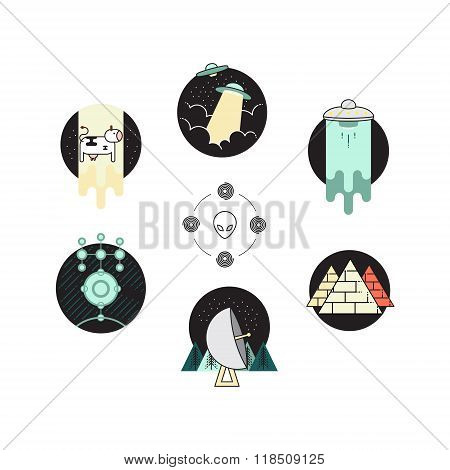 Ufo Badge. 6 Icon Set And Alien Symbol Logo