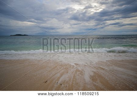 Beach On The Seychelles During Sunset..