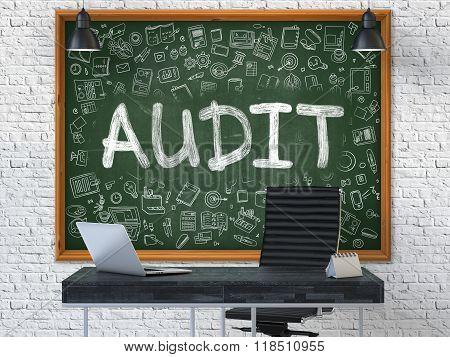 Audit on Chalkboard in the Office.