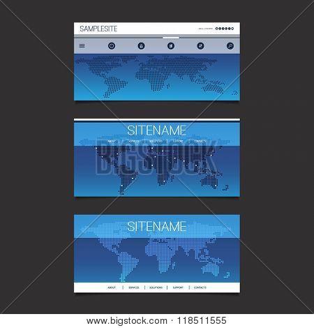 Web Design Elements - Header Design Set With Dotted World Map
