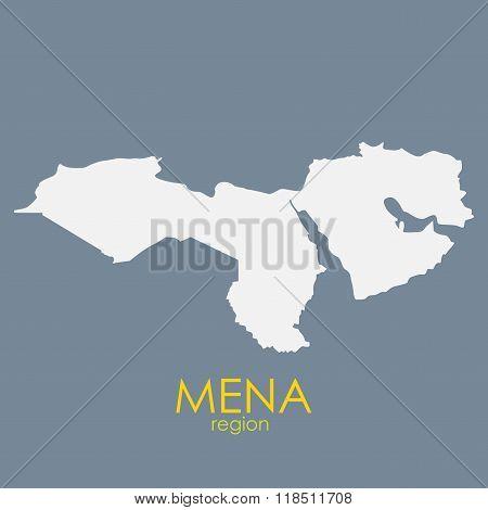 Mena Region Map Vector Illustration